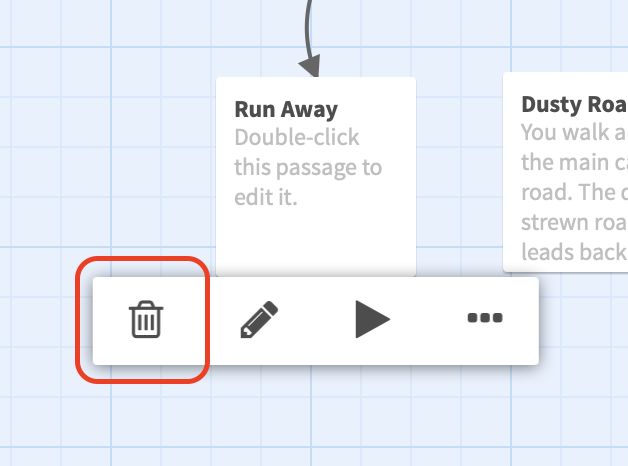 Screenshot showing the passage toolbar with the trash icon highlighted.