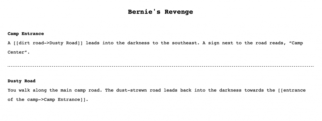 A screenshot showing a proofing copy of the Twine story.