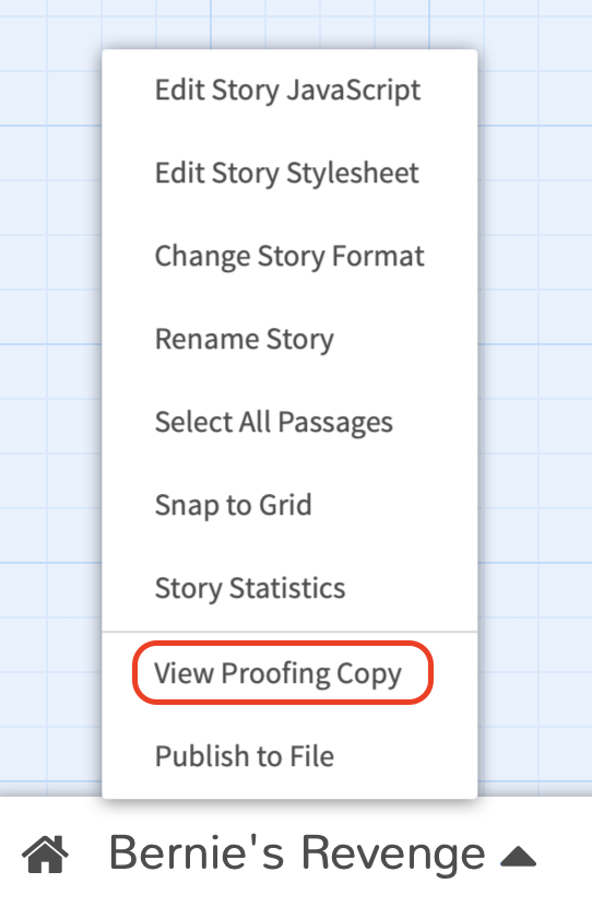 A screenshot showing where to click to access the proofing copy.