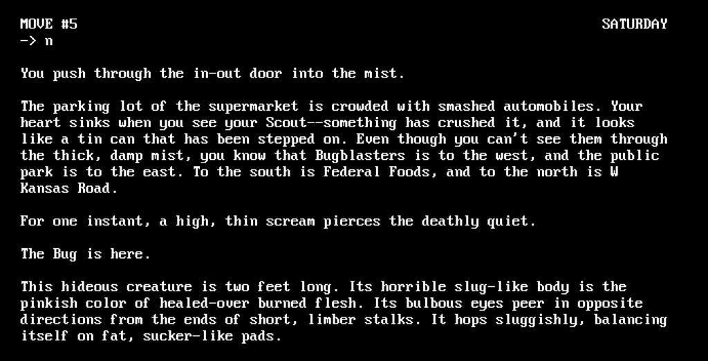 A screenshot showing The Mist text adventure