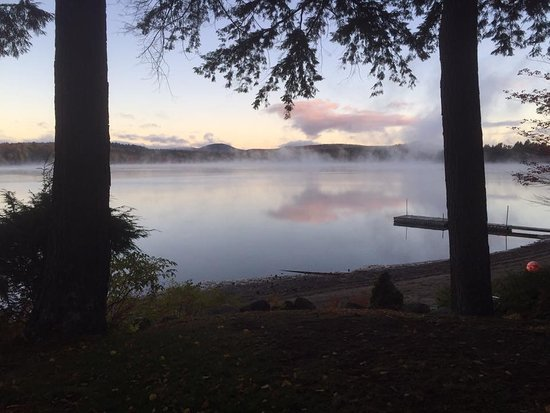A picture of Long Lake with some mist on it.