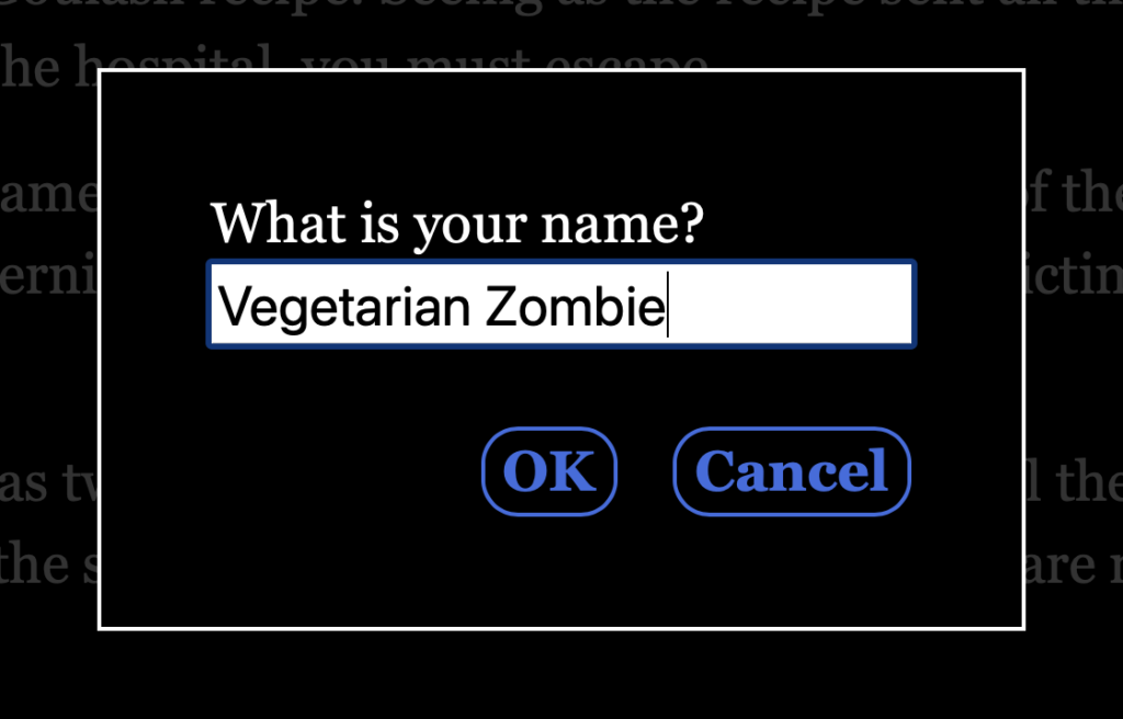 A screenshot that shows a dialog presented to the user