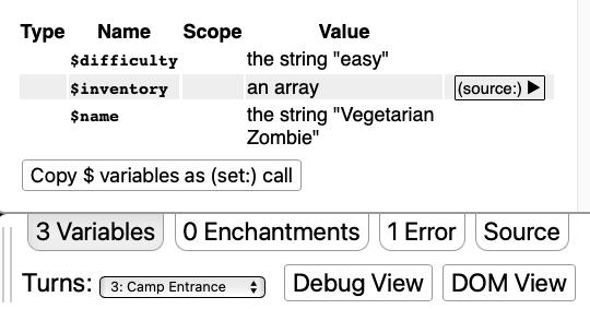 A screenshot of the debug panel.