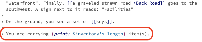 A screenshot of code printing out the inventory's length.